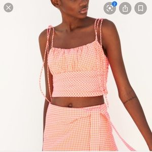Zara neon gingham top - small